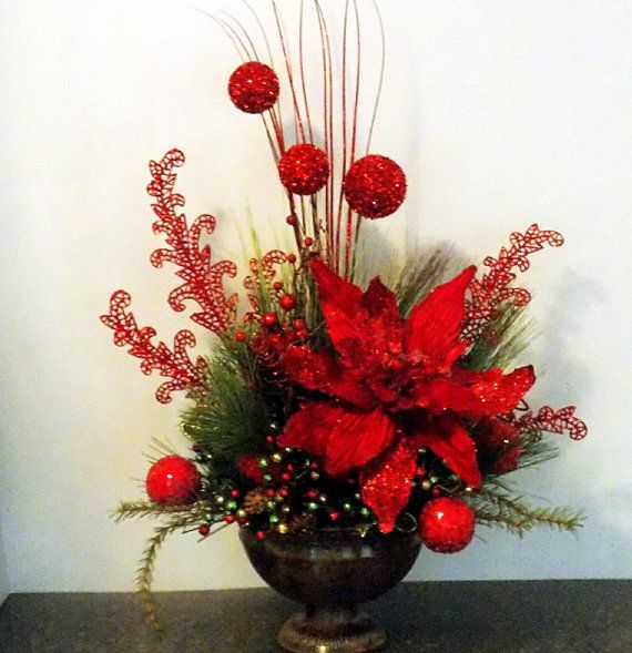 *CHRISTMAS FLORAL ARRANGEMENT ~ with XL Poinsettia, Glitter Balls and Feathers, Faux Evergreen, Urn Floral Arrangement, Red Christmas Design