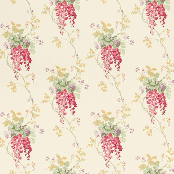 FABRIC PRINTS | Laura Ashley Wisteria Cranberry Floral |