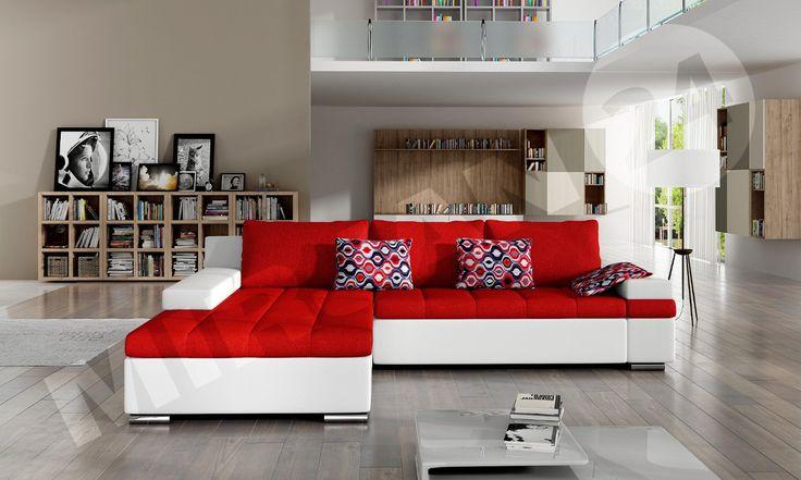 Red & white! - excellent connection. Czerwony i biały! - połączenie doskonałe. #red #white #cornersofa #livingroom #salon #home #narożnik