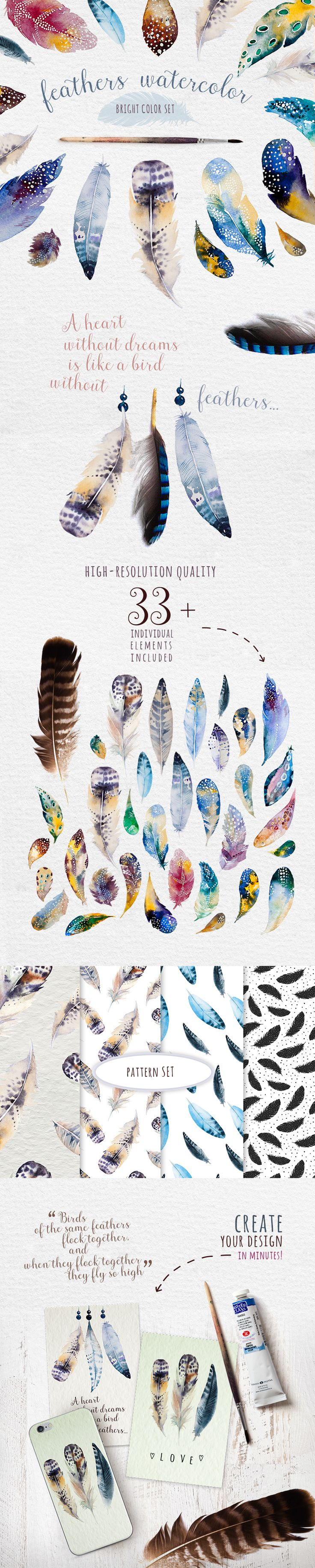 Bright watercolour feathers kit on Behance                                                                                                                                                      More