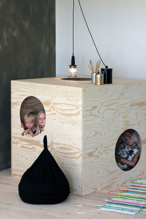 simple plywood furniture, Cool Indoor Playhouse Ideas for Kids, http://hative.com/cool-indoor-playhouse-ideas-for-kids/,