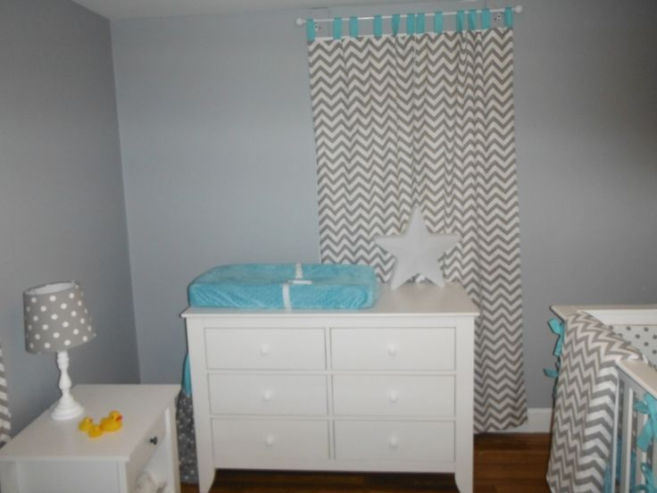 Dresser and crib from Baby Furniture Warehouse. Changing pad cover and curtains from Butterbeans Boutique on Etsy.