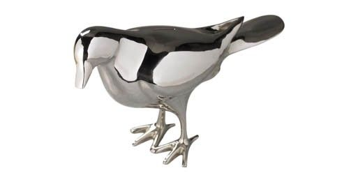 A twist on the traditional piggy bank, this life-size pigeon is made from nickel plate.