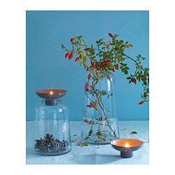 IKEA - VINTER 2017, Vase/Halter für Teelichter, Doppelfunktion: formschön und dekorativ; ob als Vase oder als Teelichthalter.Für einfaches Reinigen sind Glaseinsatz und Metallhalter für Kerzen abnehmbar.