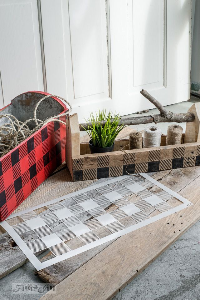 Buffalo check stenciled toolboxes in wood tones and black and red, using Funky Junk's Old Sign Stencils | funkyjunkinteriors.net