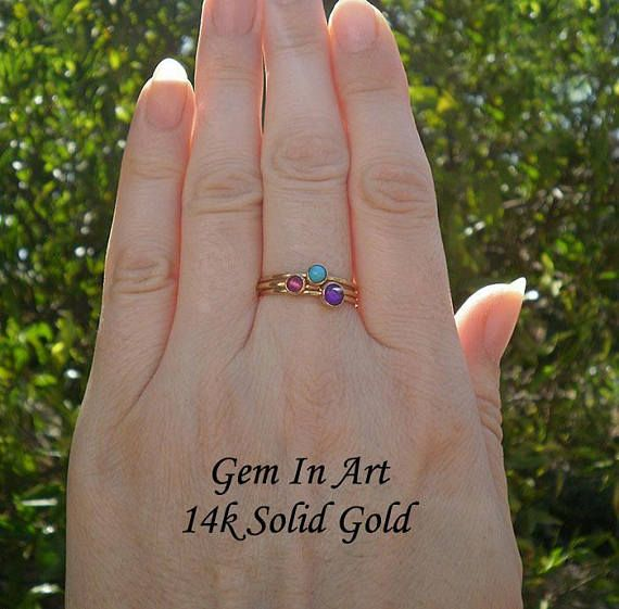 Solid Gold Dainty RingSet of three 14K Solid Gold Stacking