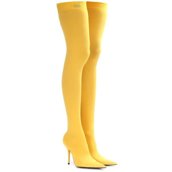 Balenciaga Knife Over-the-Knee Boots ($645) ❤ liked on Polyvore featuring shoes, boots, heels, yellow, heeled boots, yellow boots, above-knee boots, balenciaga boots and over the knee heel boots