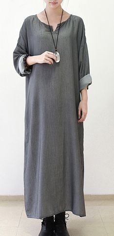 Gray silk dresses fall maxi dress top quality long sleeve maxi dress