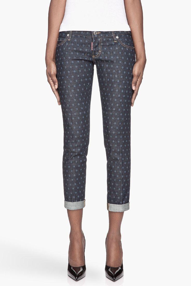 DSQUARED2 // Navy Blue Polka Dot Jeans