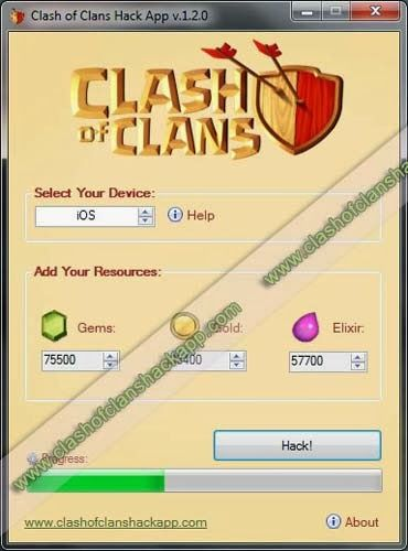 Clash of Clans Hack tool - Generate Gems, Gold and Elixir for free. Clash of Clans Cheat Generator.