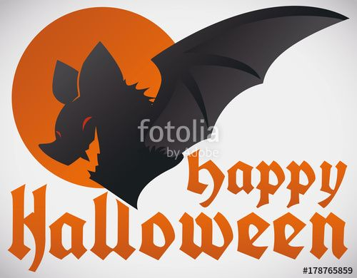 Halloween Design with Gothic Font and Bat Silhouette
