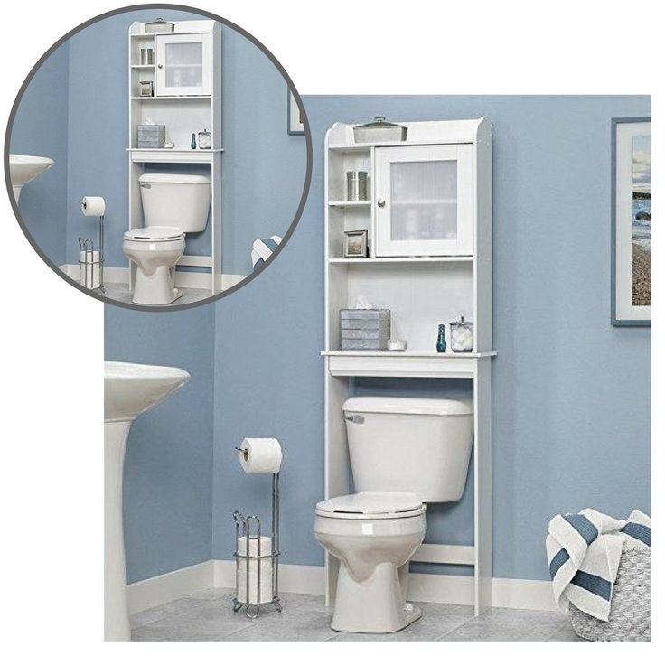 Bathroom Cabinet Over The Toilet Storage Shelves Wall Towels Bath Home White #Unbranded