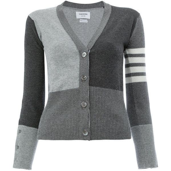 Thom Browne monochrome block cardigan (125,680 INR) ❤ liked on Polyvore featuring tops, cardigans, grey, color block cardigan, colorblock cardigans, thom browne, color block tops and gray cardigan