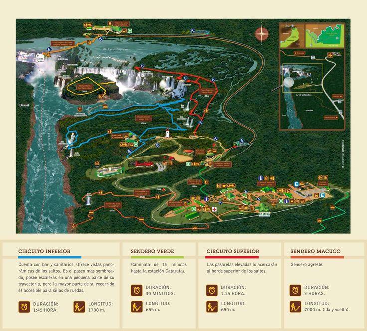 mapa cataratas de Iguazú, Argentina/Brasil/Paraguay