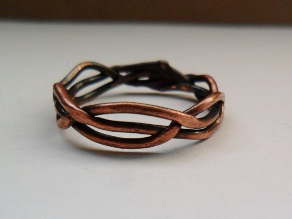 Braided Copper Ring Mens or Womens Copper Ring by MadiJAXmetals, $20.00