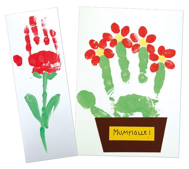 Sormivärien avulla painetut äitienpäiväkortit. Sinellistä laadukkaat saksalaiset sormivärit.