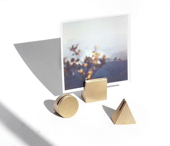 solid brass geo stands --- to hold photos, cards, postcards or invitations. By YIELD DESIGN CO.