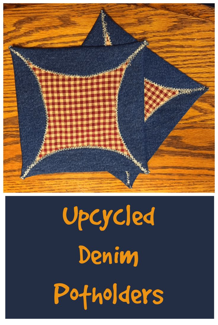 White pot holders for crafts - Easy To Make Upcycled Denim Potholders