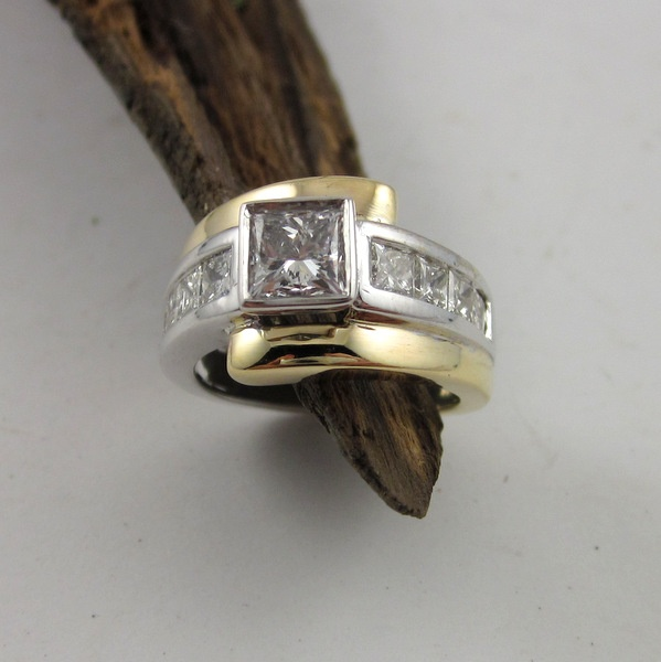Yellow and White Gold Diamond Ring   Geoff Taylor Goldsmith