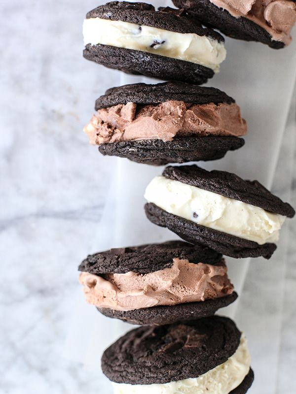 Double Chocolate Chip Cookie Ice Cream Sandwiches | foodiecrush.com