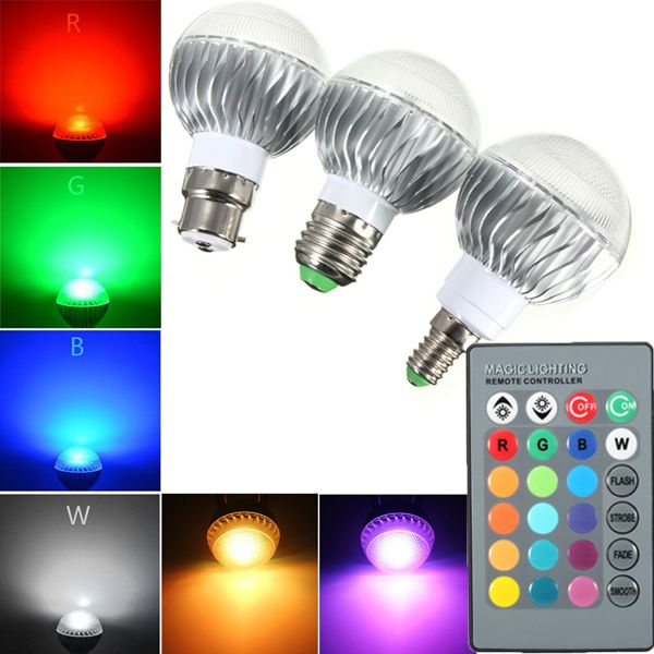 B22 E27 E14 5w Rgb Remote Controlled Colour Changing Led Light Bulb Ac 85 265v Color Changing Led Led Light Bulb Led Lights