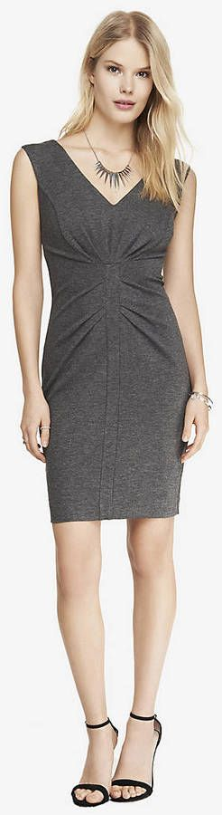 Express Ponte Knit V-Neck Ruched Sheath Dress WAS $79.90 NOW $49.99
