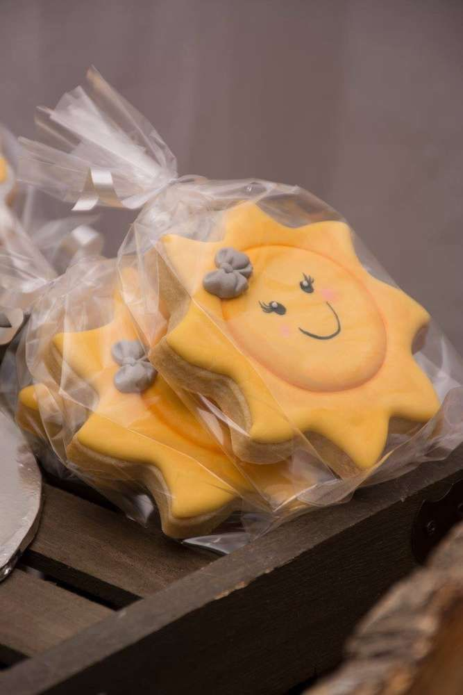 Decorated cookies at a You are my sunshine baby shower party! See more party ideas at CatchMyParty.com!