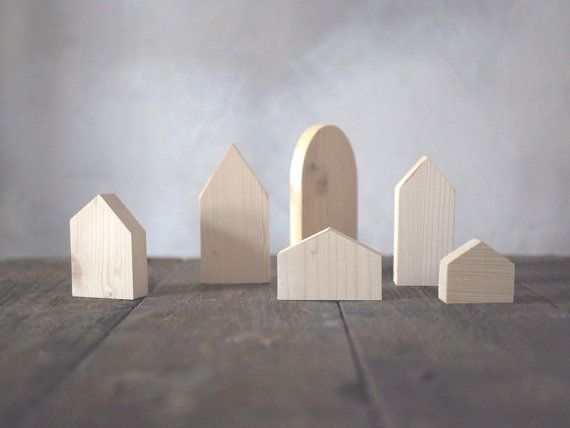 Set of 6  wooden village six houses unpainted natural by forCRAFT