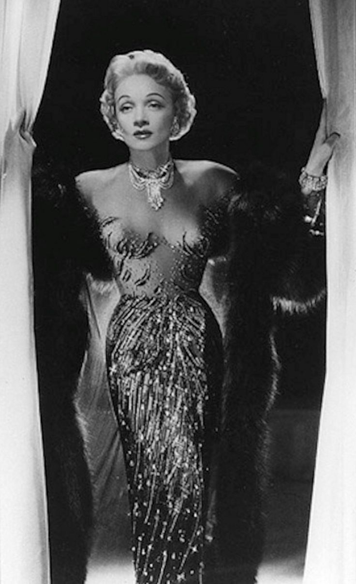Marlene Dietrich, in Jean Louis. 1950s. Illusion gown. Jean Louis (born Jean Louis Berthault, 1907, Paris, - 1997, Palm Springs, California) was a French-born, Hollywood costume designer and an Academy Award winner for Costume Design.