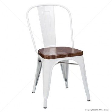 Vintage Metal Café Chair Timber Seat - Xavier Pauchard Reproduction - White - Milan Direct