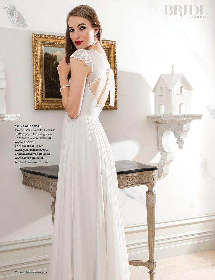 Wild Jewels as seen in Bride & Groom Magazine. Model wearing Wild Jewels Pearl Pod Earrings and Fire Bracelet.