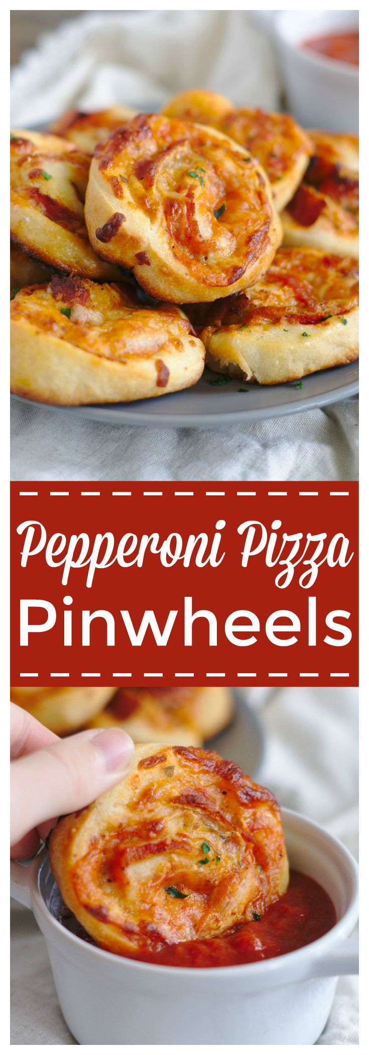 Pizza Pinwheels – A quick and easy appetizer! Pizza dough filled with marinara sauce, mozzarella, parmesan, and pepperoni and baked until golden brown. The ultimate pinwheel recipe! #pepperoni #pinwheels #appetizer #pizza
