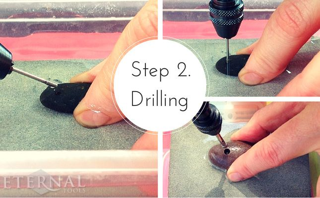 How To Drill Pebbles and beach stones. Step 2. Drilling
