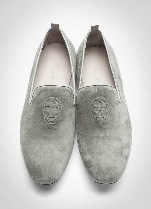Grey Suede Embossed Loafers, by Alexander McQueen. Mens Spring Summer Fashion.