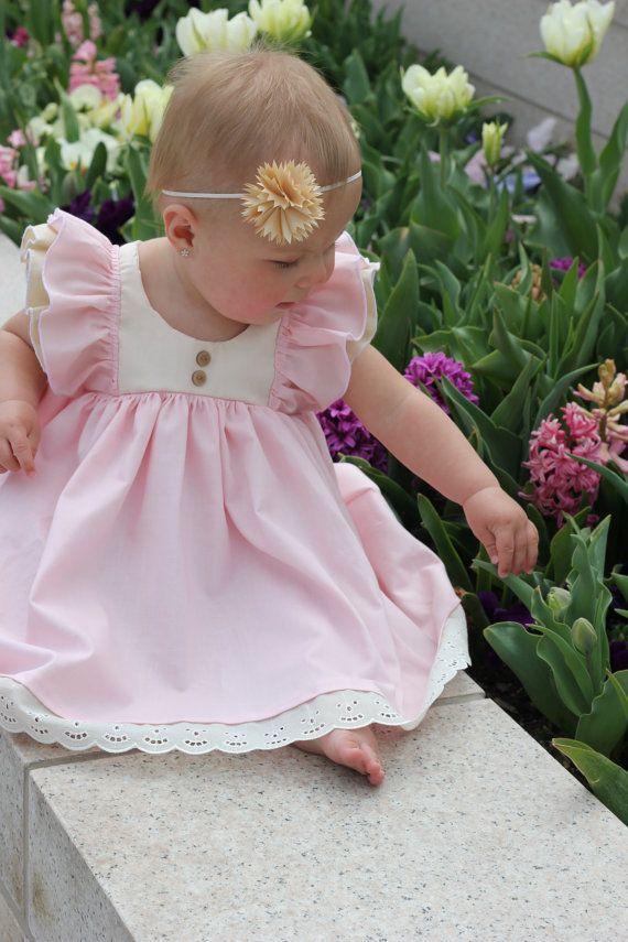 Pink Toddler Dress - 1st Birthday Dress - Toddler Twirl Dress - Flutter Sleeve Dress - Toddler Spring Dress - Baby Special Occasion Dress