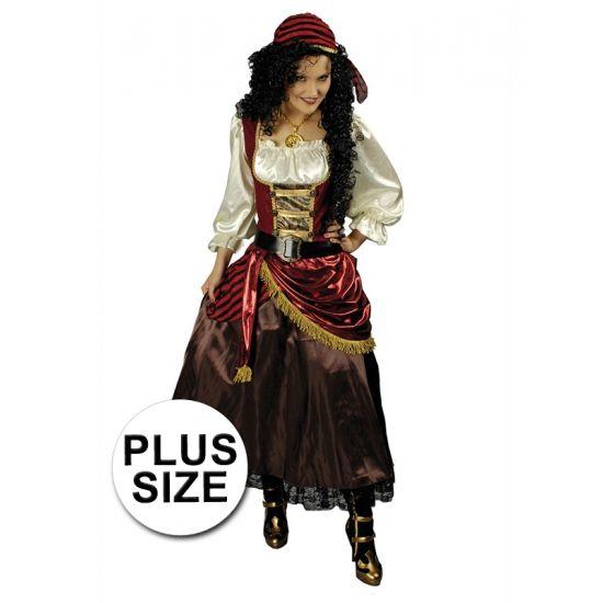 Luxe grote maten piraten jurk met bandana. Dit grote maten piraten kostuum voor dames bestaat uit een piraten jurk, een piraten bandana en een bijpassende riem. De overige accessoires zijn los verkrijgbaar in deze webwinkel.
