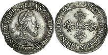 Franc d'Henri III au col fraisé, argent frappé en 1582.- Sur les conseils de sa mère, Henri III soutient les ambitions du duc d'Alençon aux Pays-Bas, tout en le désavouant devant l'ambassadeur espagnol. Conscient des fragilités du pays, le roi ne veut pas se risquer à un conflit ouvert avec l'Espagne. Ses relations avec Philippe II d'Espagne sont au plus bas. En 1582 la France soutient Antoine, prétendant au trône du Portugal, alors que Philippe II occupe le pays.
