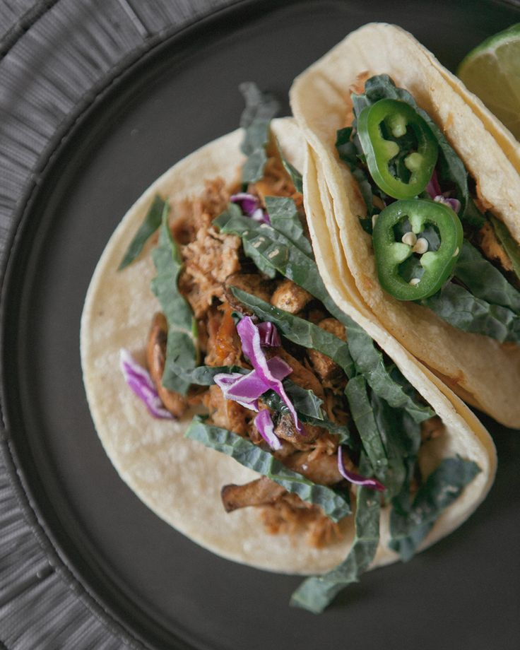 Pulled Pork Tacos with Kale Slaw + Sautéed Mushrooms