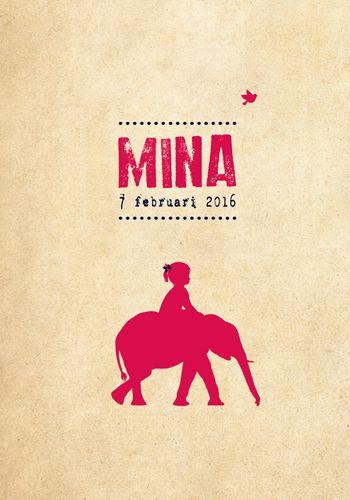 Geboortekaartje Mina - Pimpelpluis - https://www.facebook.com/pages/Pimpelpluis/188675421305550?ref=hl (# meisje - dieren - olifant - silhouet - lief - origineel)