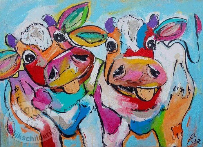 Vrolijk schilderij dansende koeien koeien pinterest schilderijen kippen en dieren - Schilderij ingang en gang ...