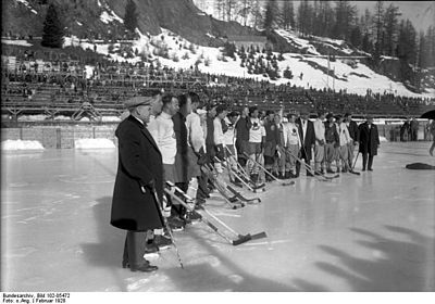 Ice hockey game during the 1928 Winter Olympics at St. Moritz