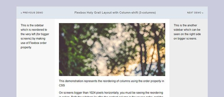 Flexbox-based Holy Grail Layouts