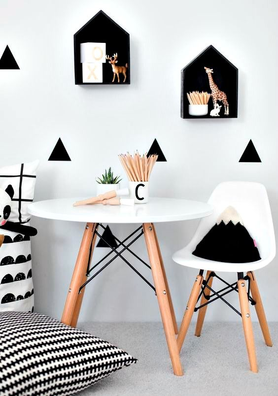 Scandinavian styled kids room. Lots of repetition in shape used here.