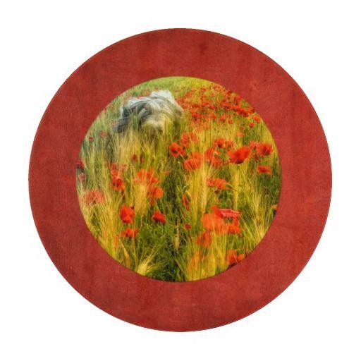 "Decorative Glass Cutting Board 12"" Bearded collie in poppy field"