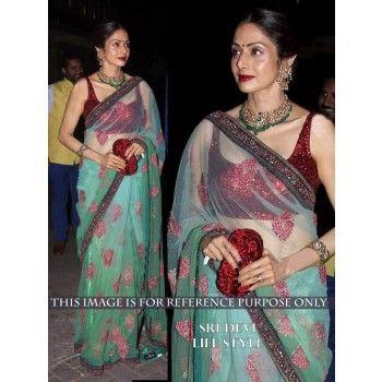 Net Sequins Work Green Bollywood Designer Saree - 109