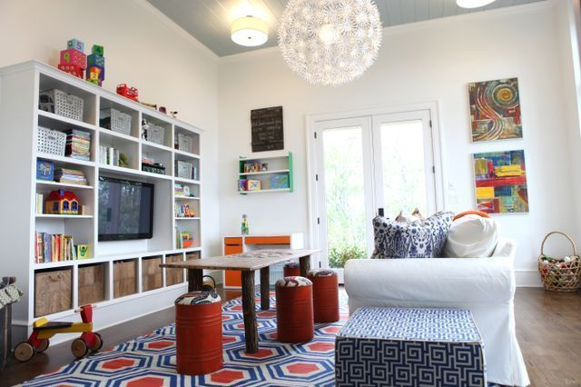 Cool Playroom ideas: If you have a TV, hide it so it's not the main focus of the room | Birds of a Feather