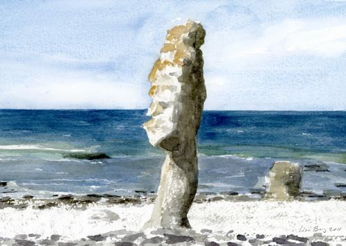 Rauk vid Langhammars, Fårö, Gotland, akvarell av Lisa Berg