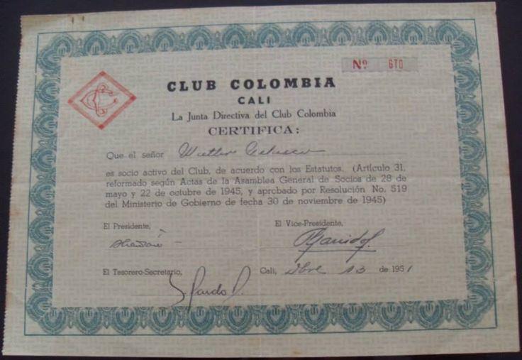 ACCIÓN DEL CLUB COLOMBIA DE CALI DE PROPIEDAD DEL ARQUITECTO DE LA UNIVERSIDAD NACIONAL DE COLOMBIA WALTER VELASCO MEJIA, NACIDO EN LA CIUDAD DE NEW YORK, USA.