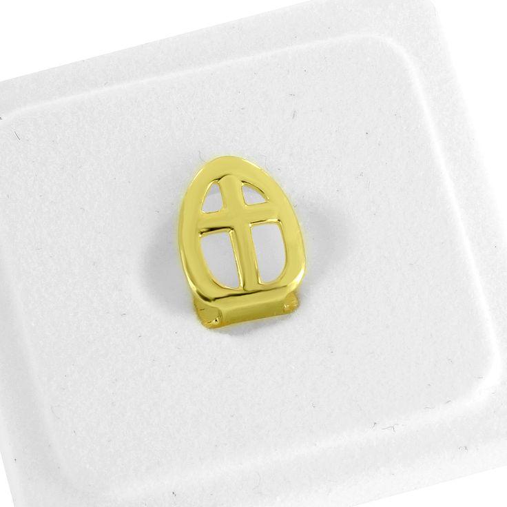 Single Tooth Cap Grillz Cross Design 14K Yellow Gold Finish