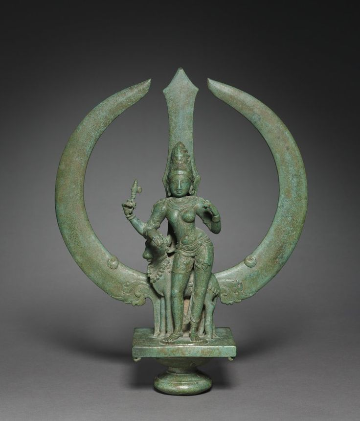 Trident with Shiva as Half-Woman (Ardhanarishvara), c. 1050  South India, Tamil Nadu, Chola period (900-13th Century), bronze, Overall: h. 39.60 cm (15 9/16 inches). Purchase from the J. H. Wade Fund 1969.117